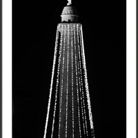 Baltimore's Washington Monument With Christmas Lights Bw Framed Print