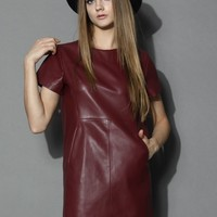 My Chic Faux Leather Shift Dress in Wine