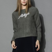 Diamond Embellished Fluffy Top in Grey