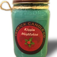 Soy Natural Wood Wick Scented Candle Kissin' Misletoe
