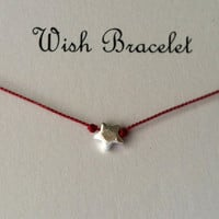 Wish Bracelet, Wish Upon A Star, Sterling Silver, Friendship Bracelet, Charm Bracelet,