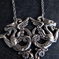 Medieval Dragon Necklace /  Silver Dragons