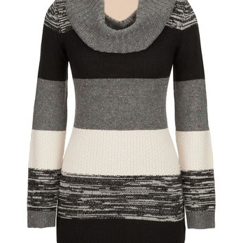 cowl neck color block sweater dress