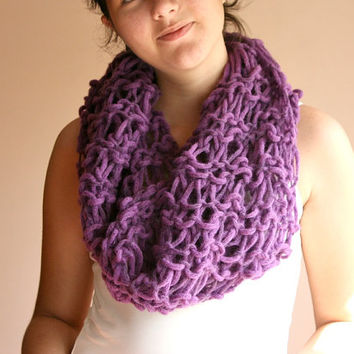 Chunky Knit Circle Scarf in Purple - Infinity Scarf - Cowl - Neckwarmer - Wrap - Spring Fall Winter Fashion - Women Teens Accessorie