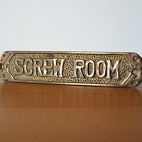 Vintage Screw Room Nameplate