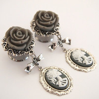 9/16 inch 14mm Grey Lady Death Double Flared Steel  Dangle Plugs for Stretched Ears - Dark Gothic Halloween Day of the Dead