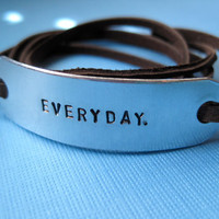 Personalized Bracelet - Custom Handstamped Leather Wrap Bracelet - BROWN Leather option