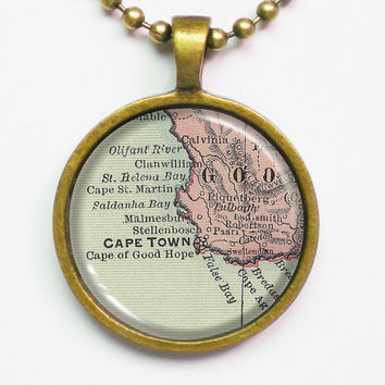 Vintage Map Necklace - Cape Town, South Africa -Vintage Map Series