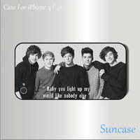1D One direction -- iphone 4 case,iphone 4S hard case side in black or white
