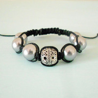 Grey Pearl & Silver Boho Buddhist Inspired Macrame Bracelet Braided with Black Cotton Cord from New World