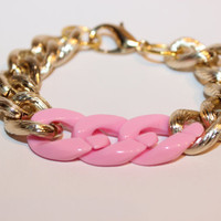 ELLE Bracelet. Textured gold bracelet with your choice of color links