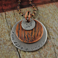 "Funny Running Pendant in Nickel and Copper Reads ""Run Like a Motha"" on a Ball Chain Necklace for Runners"