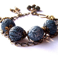 Artisan Bead Bracelet, Handmade Ceramic Blue Beads, Turquoise Gemstones, Brass Charms, Unique Ooak Bracelet