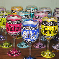 Wedding Party Wine Glasses - Can Be Customized - Zebra Print and Polka Dots - Wedding Date and Titles on Glasses