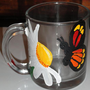 Monarch Butterfly Daisy Flower Coffee / Juice Mug - Hand Painted
