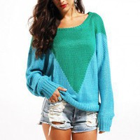 MINKPINK Wellington Oversize Jumper Sweater in Blue/Green