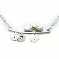 Love Bird Initial Necklace Custom Metal Hand Stamped Pendant Personalized Jewelry Charms