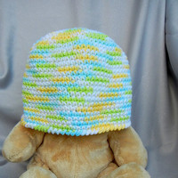 Cotton Crochet Cloche White Green Blue and Yellow Adult