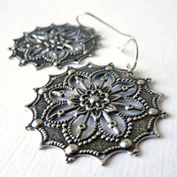 Filigree Earrings, Antiqued Silver, Sterling Silver