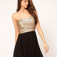 TFNC Dress with Sequin Bandeau &amp; Chiffon Skirt at asos.com