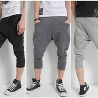 iOffer: Men Casual Overalls Harem Pants Sport Cropped Trousers  for sale