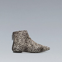 FURRY FLAT ANKLE BOOT - Shoes - Woman - ZARA United States