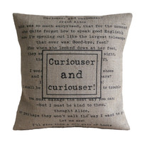 Curiouser and Curiouser Alice in Wonderland Hessian Burlap Pillow Cushion Cover 16&quot;