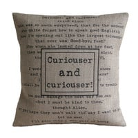Curiouser and Curiouser Alice in Wonderland Hessian Burlap Pillow Cushion Cover 16""