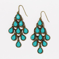 Turquoise Crystal Tiered Chandelier Earrings | World Market