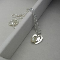 Sterling Silver mom Heart Pendant w Swarovski Pearls Charm Hand by LuxePersonalizedJewelry