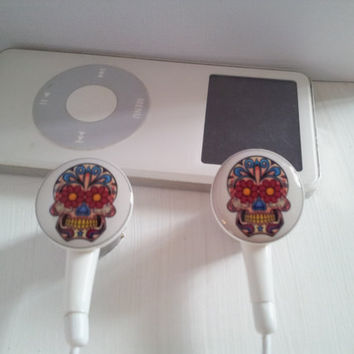 Day Of The Dead Colorful Sugar Skull  Earbuds