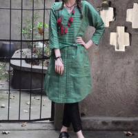 Linen Tunic Dress in Green / Shirt Dress - Custom Made