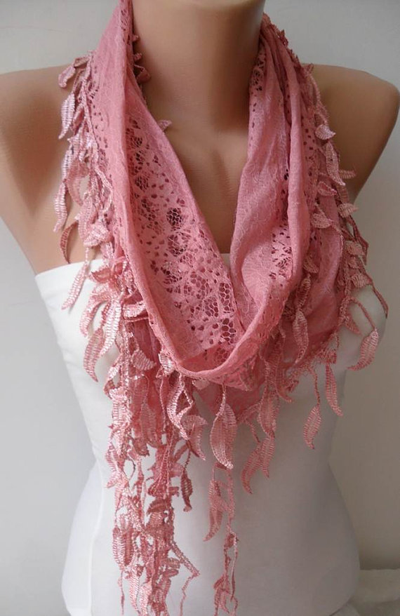 New - Rose Pink Lace Scarf with Trim Edge