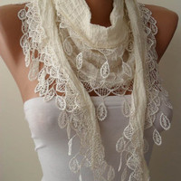 New - Creamy White and Cotton - Summer Scarf with Creamy Trim Edge