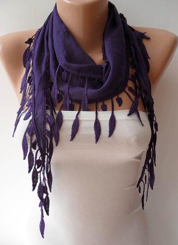 Trend - Fashion - Purple Scarf with Trim Edge - Lightweight Cotton Scarf