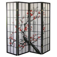 Amazon.com: ORE International Black 4 Panel Plum Blossom Screen Room Divider: Home &amp; Garden