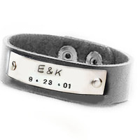 Initial Leather Bracelet Riveted Hand stamped Cuff Black Leather Jewelry Birthday
