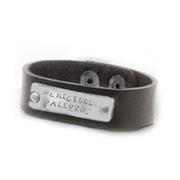 Leather Medical Alert Bracelet Rectangle Hand stamped Caduceus Brown Leather Riveted Band Jewelry allergy condition