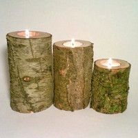 Log Tealight Candle Holder, Rustic Decor, Rustic Wedding Centerpiece, Patio Decor