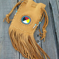 Beaded leather bag  Fringed cedar bag Beaded Medicine bag  Four directions beadwork Ceremonial bag