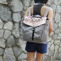 Limited edition - Tanya in Light grey / Ikat print  - unisex back pack / satchel / Rucksack