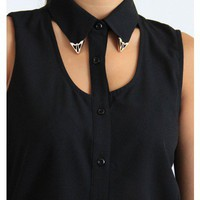 Sheer Black Metal Tip Collar Tank
