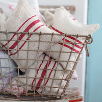Red Stripe Grain Sack Lavender Pillows