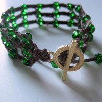 triple macrame bracelet brown and green by handmadefuzzy on Zibbet