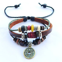 peaceful brown Adjustable  hipster jewelry leather bracelet with wooden bead and hollowed tube