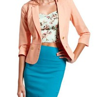 Peach Canvas Double-Breasted Blazer: Charlotte Russe
