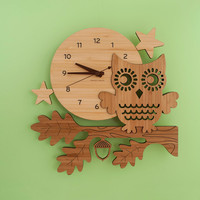 Bamboo Owl Wall Clock: Modern Woodland Baby Nursery Owl Decor