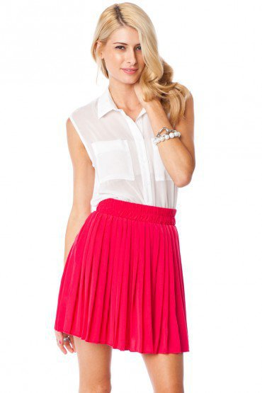 Jules Pleated Skirt in Fuchsia - ShopSosie.com