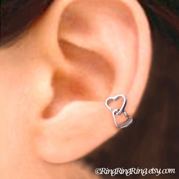 925 Double love heart Sterling silver ear cuff earring jewelry - Left earcuff 090912