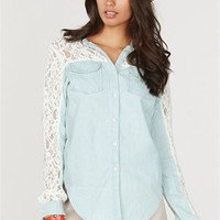 A'GACI LACE + CHAMBRAY SHIRT - TOPS